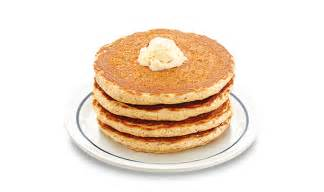 Four pancakes made with hearty grains wholesome oats almonds and
