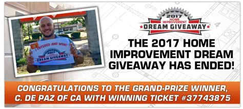 Home Improvement Giveaways 2017 - california man wins 2017 home improvement dream giveaway 174 new beginning children s