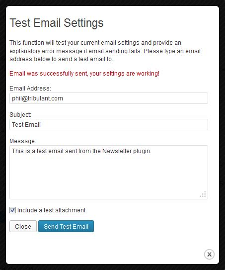 test email newsletter plugin configuration gt test email