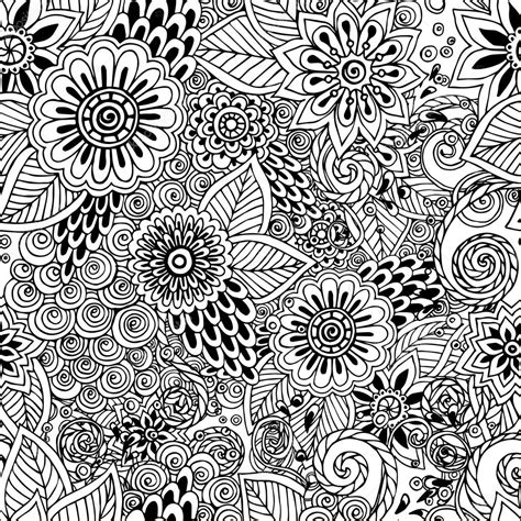 doodle pattern vector seamless floral doodle black and white background pattern