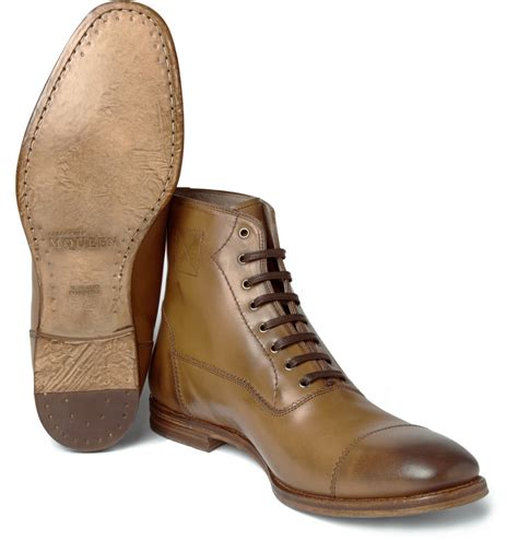 cap toe boots mcqueen lace up toe cap boots in brown for