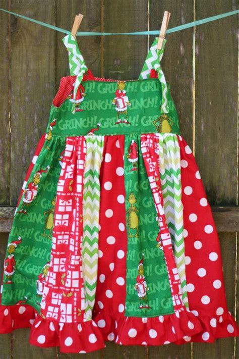 4t grinch christmas knot dress stripwork red white green polka