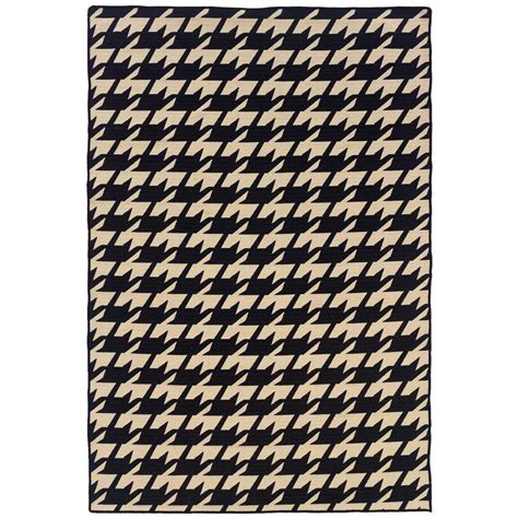 linon home decor salonika houndstooth black 5 ft x 8 ft