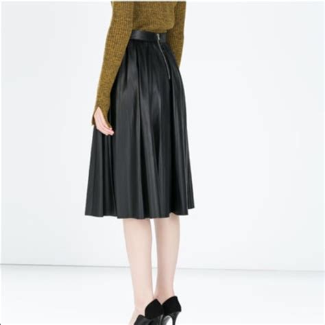 zara black faux leather pleated midi skirt from s