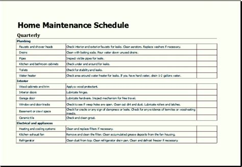 maintenance program template maintenance plan