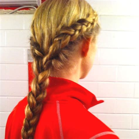 Softball Hairstyles by Two Outside Braids Into One Normal Braided Pony