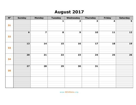 august calendar template august 2017 calendar word weekly calendar template