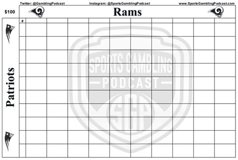 printable superbowl squares template printable bowl 53 squares grid sports podcast