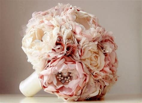 Handmade Wedding Bouquets - new fabric flower bouquet brooch bouquet vintage style
