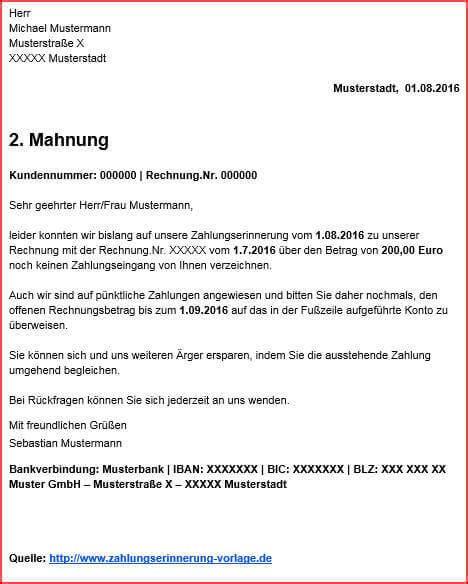 1 Mahnung Muster Schweiz zahlungserinnerung beispiel gt inkl mahnungsbeispiel
