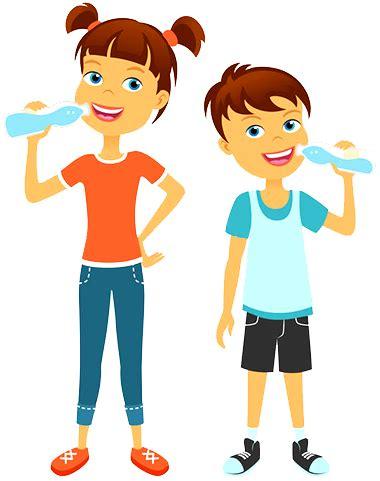 cartoon kids drinking water pioneer pioneer elementary