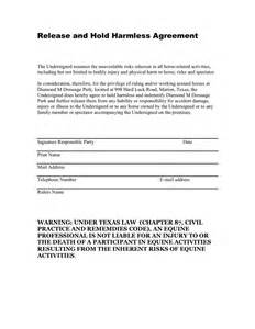 release and hold harmless agreement template doc 400518 sle hold harmless agreement hold