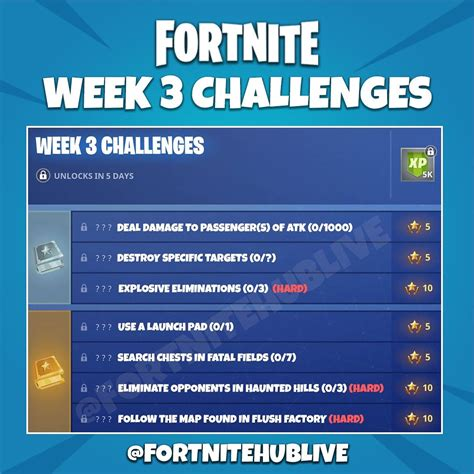 fortnite week 3 challenges fortnite week 3 leaked challenges could be changed