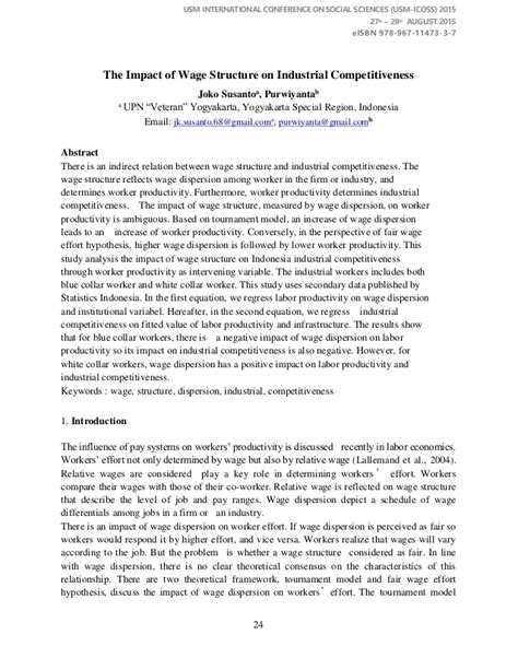 Efficiency Wage Theory Essay by Usm Icoss 2015 Proceedings