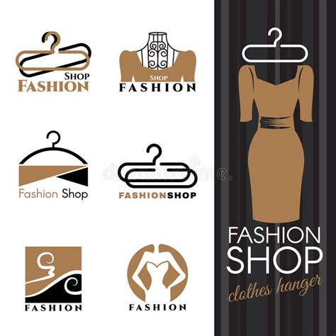 clothes design logo vector fashion shop logo brown dress and clothes hanger vector