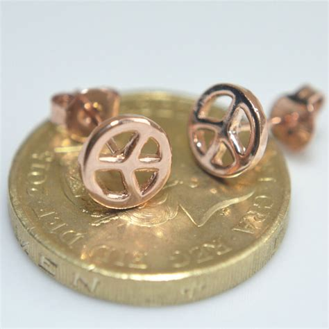 shiny 14k 14ct gold plated small peace sign symbol stud earrings gift ebay