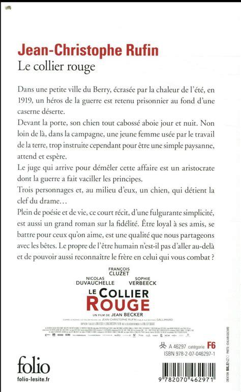 libro le collier rouge folio livre le collier rouge jean christophe rufin