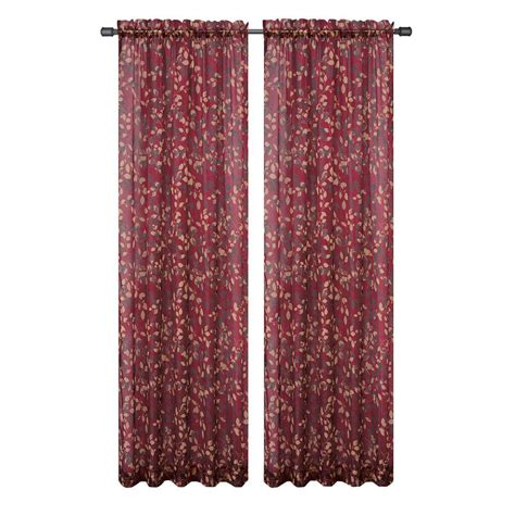 sheer maroon curtains window elements pinehurst printed sheer burgundy rod