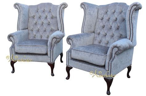 traditional fabric high back sofas chesterfield offer pair fabric queen anne high back wing