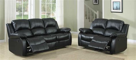Homelegance Cranley Reclining Sofa Set Black Bonded Black Reclining Sofa Set