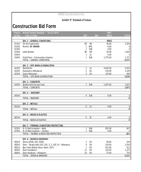 Sle Construction Form 21 Free Documents In Word Pdf Excel Docs Construction Estimate Template