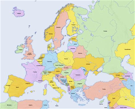 countries of europe in countries in europe 2006 size
