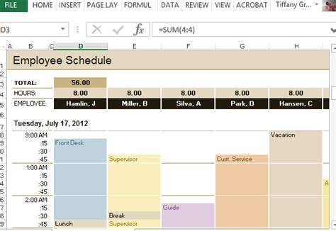 hourly employee schedule template employee schedule hourly increment template for excel