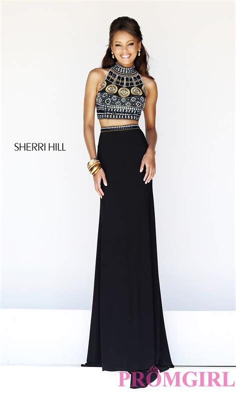 Set 3in1 Longdress Black sherri hill beaded two prom dress crop top gowns promgirl