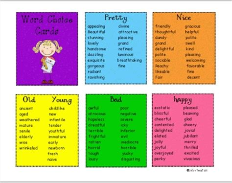 other words for word choice words writing
