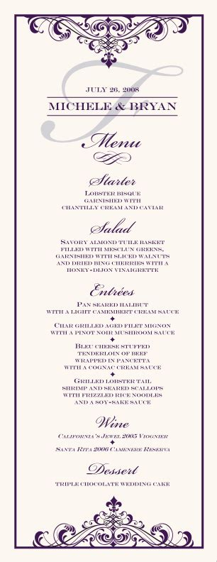 fancy menu template wedding menu cards vintage monogram menu cards special