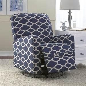 Leo blue nursery swivel glider recliner chair 17197812 overstock