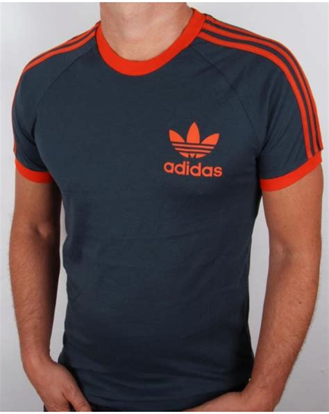 Tshirt Adidas Reutro Navy adidas originals retro 3 stripes t shirt navy orange