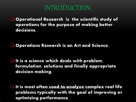 Operation Research Mba 2nd Sem Notes by Operation Research And Its Application