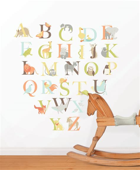 letter wall decals for rooms alphabet zoo wall sticker kit