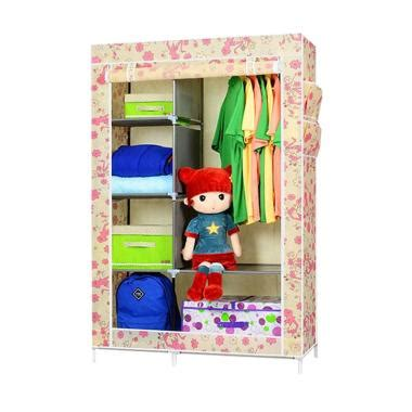 Lemari Portable Binatang Anak Dewasa Rak Buku Furniture Grosir Baju jual godric lemari baju rak pakaian wardrobe motif medium size 103 x 43 x165cm