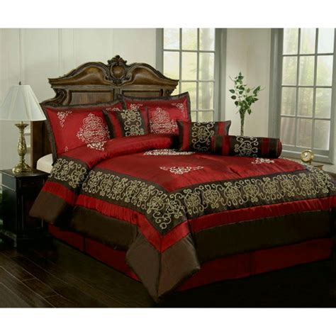 queen bed comforter sets burgundy black queen 10 pieces