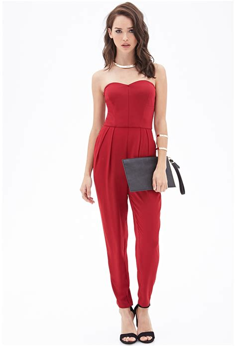 Yumico 3 In 1 Jumpsuit forever 21 strapless pleated jumpsuit in lyst