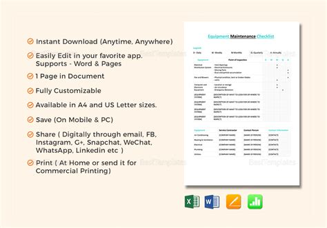 checklist template for apple pages equipment maintenance checklist template in word excel