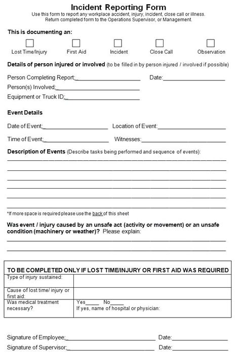 Work Incident Report Virtuart Me Work Report Form Template