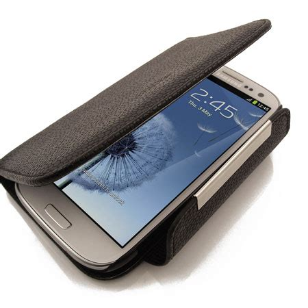 leather style wallet case for samsung galaxy s3 black