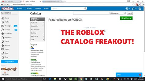 roblox catalog the roblox catalog freakout youtube
