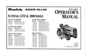 1691380 simplicity sunstar 18 hp hydrostatic lawn tractor owners manual