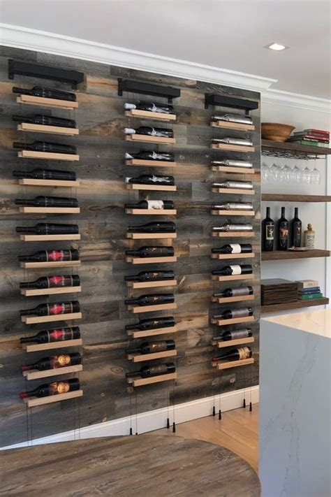 buoyant wall mounted cable based wine racks  decorate
