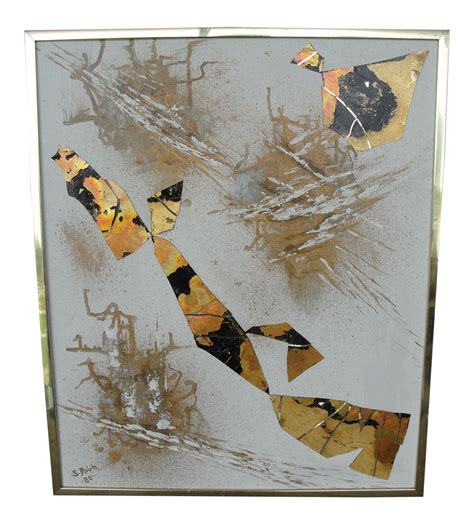 Decoupage Photos On Canvas - vintage abstract decoupage on canvas chairish