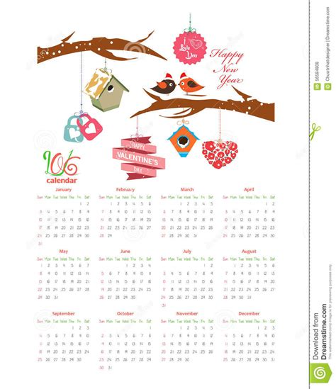 Calendar 2018 Valentines Day Calendar 2016 With Stock Vector Image 56584808