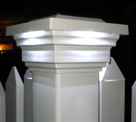 vinyl fence solar light caps regal white led solar post cap light