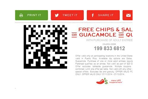chili's free chips & salsa coupons 2018