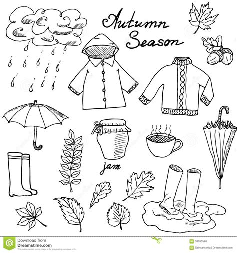 doodle and sketchbook a coloring activity and doodle book for of all ages books autumn season set doodles elements set with