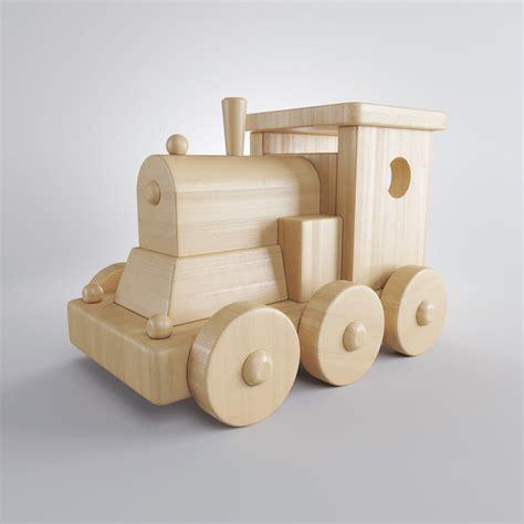 wooden train  model  turbosquid