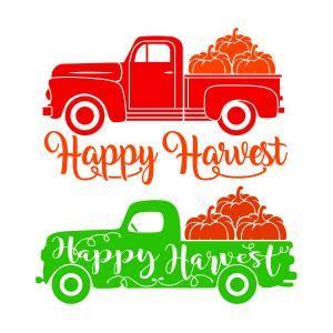 happy harvest pumpkin truck cuttable design